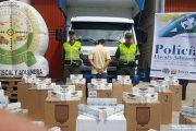 Un capturado y más de 35 mil cajetillas de cigarrillo fueron aprehendidos por la Polfa