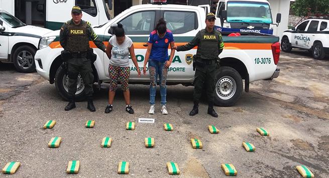 Capturadas dos mujeres con 14 kilos de estupefacientes
