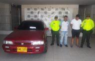 Capturados en Valledupar dos hombres por el hurto de un vehículo