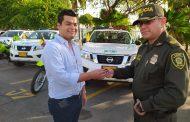 Con ocho modernas camionetas y seis potentes motocicletas refuerzan el servicio de policía en el Cesar