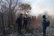 La sofocante labor de extinción de incendio forestal en zona rural de Valledupar