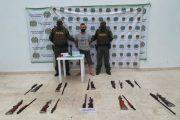 Capturado con diez armas de fuego y munición en el sur del cesar