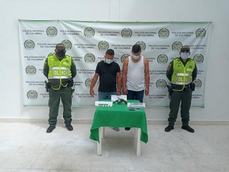 En Aguachica, dos capturados por porte ilegal de arma de fuego y hurto