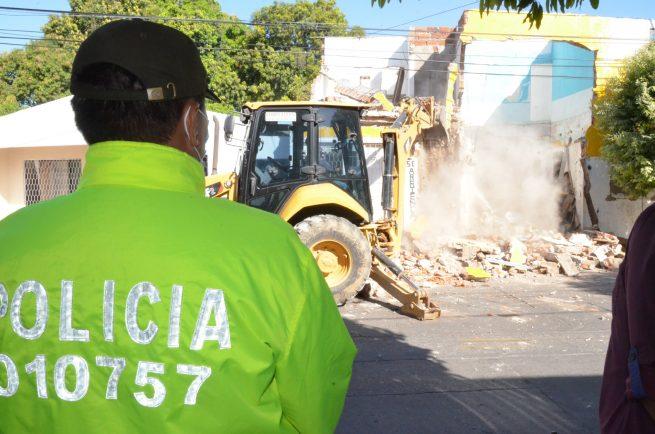 Predio que era utilizado para la comercialización y consumo de estupefaciente fue demolido en Valledupar