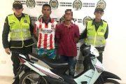 Hombre con antecedentes fue capturado y menor aprehendido con motocicleta hurtada en Valledupar