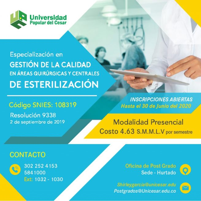 15 de agosto, fecha límite para inscribirse en especializaciones del área de la salud en la UPC