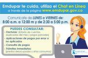 A través de chat en línea, Emdupar facilita la comunicación con sus usuarios