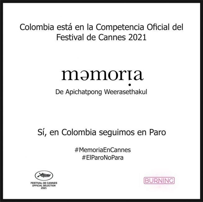 """La película colombiana """"Memoria"""", en la selección oficial del Festival de Cannes 2021"""